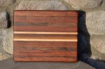"# 14-01. Jatoba, Black Walnut and Hard Maple. 8"" x 10"" x 1""."