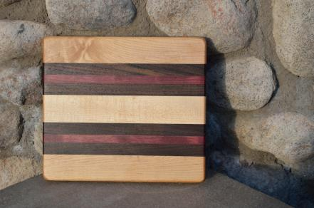 "# 14-02. Hard Maple, Black Walnut and Purpleheart. 9"" x 11"" x 1""."