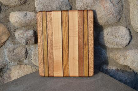 "# 14-05. Hard Maple, Black Walnut, Teak and Mohagany. 8"" x 10"" x 3/4""."