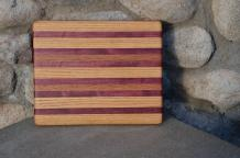 "# 14-07. Red Oak, Purpleheart and Black Walnut. 8"" x 10"" x 3/4""."