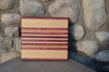 "# 14-09. Purpleheart, Hard Maple and Red Oak. 9"" x 11"" x 3/4""."