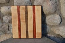 "# 14-17. Hard Maple, Padauk and Black Walnut. 8"" x 10"" x 3/4""."