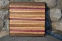 "# 14-20. Black Walnut, Red Oak, Purpleheart and Hard Maple. 8"" x 11"" x 1""."