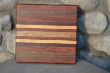 "#14-21. Jatoba, Black Walnut, Honey Locust and Teak. 8"" x 10"" x 1""."