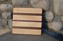 "# 14-22. Hard Maple, Black Walnut and Purpleheart. 8"" x 10"" x 3/4""."