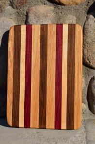 """# 14-32. Red Oak, Black Walnut, Hard Maple and Purpleheart. 8"""" x 10"""" x 1""""."""