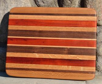 "# 14-39. Red Oak, Black Walnut, Padauk and Hard Maple. 8"" x 11"" x 1""."