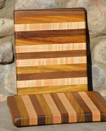 "# 14-45. Black Walnut, Teak and Hard Maple. 8"" x 10"" x 1""."