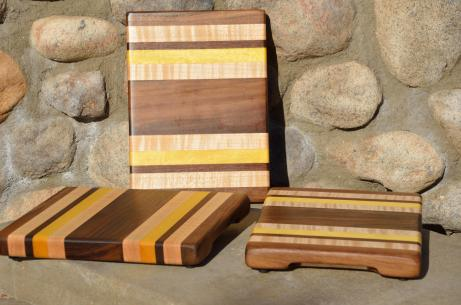 "# 14-46. Black Walnut, Hard Maple and Yellowheart. 8"" x 10"" x 1""."