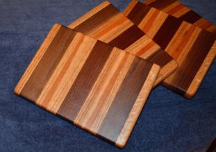 "#14-47. Red Oak, Black Walnut and Cherry. 8"" x 10"" x 1""."
