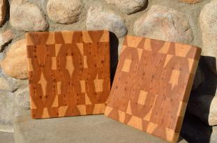 "# 14-48. Hickory end grain. 9"" x 10"" x 1""."