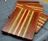 "# 14-49. Black Walnut, Padauk and Hard Maple. 8"" x 11"" x 1""."