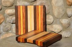 "# 14-61. Black Walnut, Cherry, Yellowheart and Hard Maple. 12"" x 11"" x 1-1/4""."