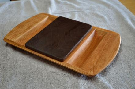 "Cheese & Cracker server # 14-02. Cherry base with a Black Walnut, end grain cutting board insert. 14"" x 18"" x 1-1/2""."