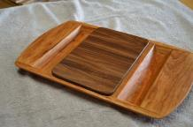 "Cheese & Cracker server # 14-05. Cherry base with a Black Walnut, edge grain cutting board insert. Velda's favorite of this group. 14"" x 18"" x 1-1/2""."