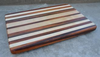 "# 14-05. Goncalo Alves, Hard Maple and Cherry edge grain. 12"" x 18"" x 1-1/4""."