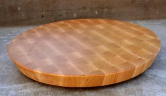 "# 14-06. Hard Maple edge grain. 16"" diameter with a 20* cant on the outer edge. 16"" x 1-1/2""."