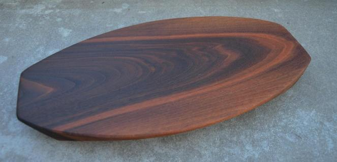 "Surfboard # 14-02. Black Walnut. 12"" x 19"" x 1-1/4""."