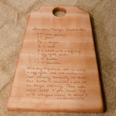 "Recipe Board # 15 - 01. Hard Maple. 8"" x 12"" x 3/4""."