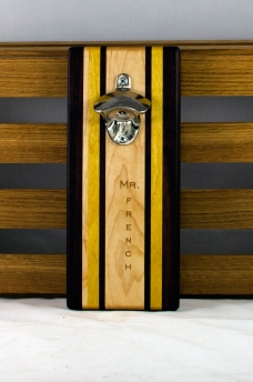 "Engraved 16 - 19. Black Walnut, Yellowheart & Hard Maple. Double Magic. 5"" x 11"" x 3/4""."