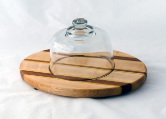 "Domed Cheese & Cracker Server 16 - 02. Jatoba, Yellowheart & Hard Maple. 10"" x 14"" x 1""."