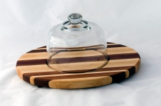 "Domed Cheese & Cracker Server 16 - 03. Jatoba, Bloodwood & Hard Maple. 10"" x 14"" x 1""."