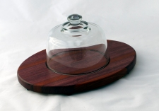 "Domed Cheese & Cracker Server 16 - 04. Purpleheart & Bloodwood. 10"" x 14"" x 1""."