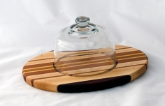 "Domed Cheese & Cracker Server 16 - 05. Black Walnut, Cherry, Yellowheart & Hard Maple. 10"" x 14"" x 1""."