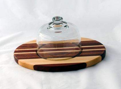 "Domed Cheese & Cracker Server 16 - 06. Bubinga, Bloodwood, Cherry & Hard Maple. 10"" x 14"" x 1""."