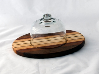 "Domed Cheese & Cracker Server 16 - 07. Black Walnut, Cherry & Hard Maple. 10"" x 14"" x 1""."