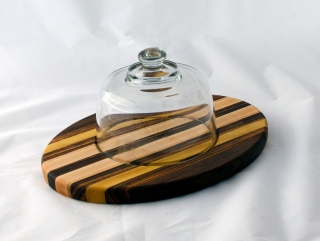 "Domed Cheese & Cracker Server 16 - 09. Black Walnut, Yellowheart, Goncalo Alves & Hard Maple. 10"" x 14"" x 1""."