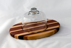 "Domed Cheese & Cracker Server 16 - 10. Hard Maple, Cherry, Bubinga & Bloodwood. 10"" x 14"" x 1""."