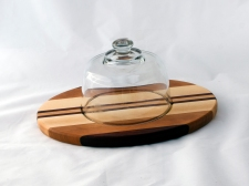 "Domed Cheese & Cracker Server 16 - 11. Black Walnut, Cherry & Hard Maple. 10"" x 14"" x 1""."