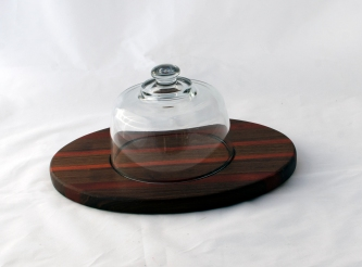 "Domed Cheese & Cracker Server 16 - 12. Black Walnut & Bloodwood . 10"" x 14"" x 1""."