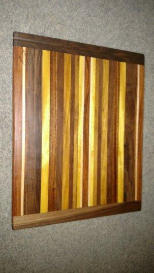 "Cutting Board 16 - Edge 005. Jatoba, Hard Maple, Black Walnut, Yellowheart & Canarywood. 14"" x 18"" x 3/4""."