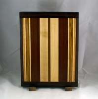 "Cutting Board 16 - Edge 020. Black Walnut, Hard Maple, Jatoba, Bubinga & Cherry. 12"" x 16"" x 3/4""."