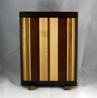 "Cutting Board 16 - Edge 020. Black Walnut, Hard Maple, Jatoba, Bubinga & Cherry. 12"" x 16"" x 3/4""."