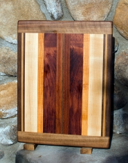 "Cutting Board 17 - 106. Black Walnut, Cherry, Hard Maple, Honey Locust, Bubinga & Jatoba. 12"" x 16"" x 3/4""."