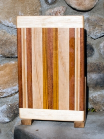 "Cutting Board 17 - 107. Hard Maple, Jatoba, Cherry & Canarywood. 10"" x 16"" x 7/8""."