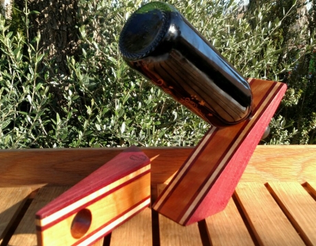 Wine Bottle Holder 17 - 03. Purpleheart, Hard Maple & Cherry.