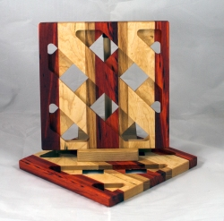 Trivet 17 - 08. Padauk, Hard Maple & Black Walnut.