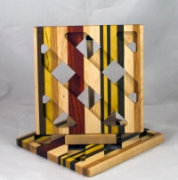 Trivet 17 - 11. Hard Maple, Black Walnut, Yellowheart, Cherry & Padauk.