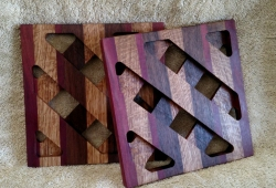 Trivet 18 - 727. Purpleheart, White Oak & Black Walnut.