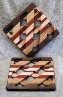 Trivet 18 - 734. Black Walnut, Hard Maple & Padauk.